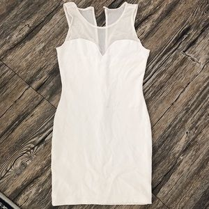 White Mesh Detail Guess Body Con Dress Easter